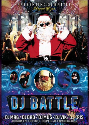 X-Mas Dj Battle flyer Template