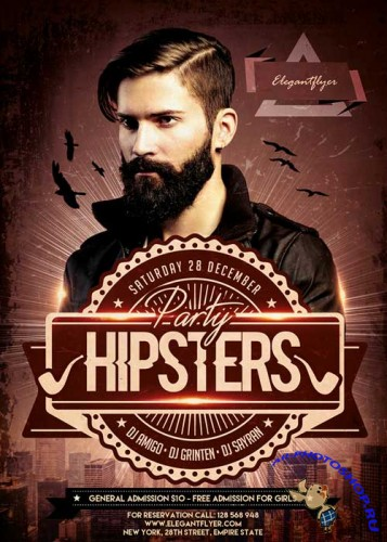 Hipsters Party V2 Flyer Template + Facebook Cover
