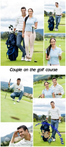 Golf, couple on the golf course