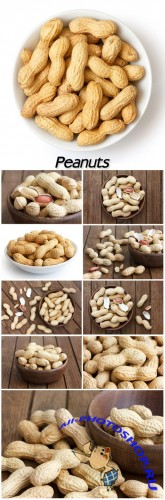 Peanuts, bowl with peanuts on wooden background