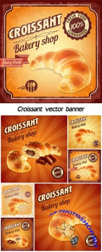 Croissant vector banner