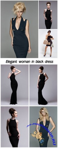 Elegant woman in black dress