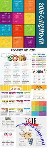 Calendars for 2016, vector