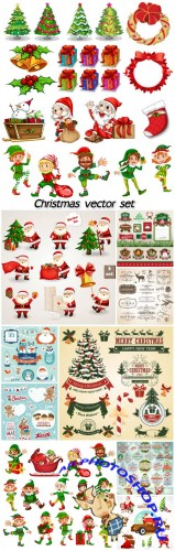 Christmas vector set calligraphic elements