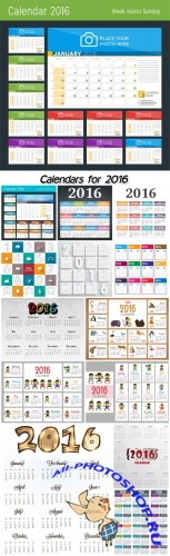 Collection of vector calendar for 2016