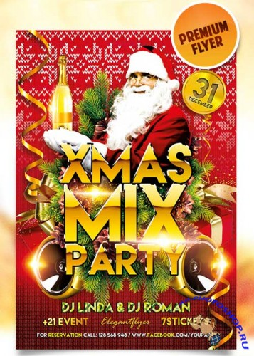 XMAS Mix Party Flyer PSD Template + Facebook Cover