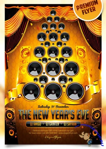 The New Year's Eve Flyer PSD Template + Facebook Cover
