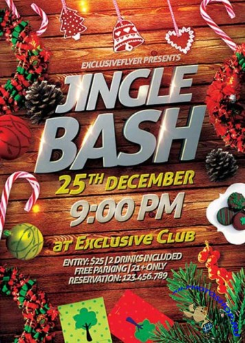 Jingle Bash Premium Flyer Template + Facebook Cover