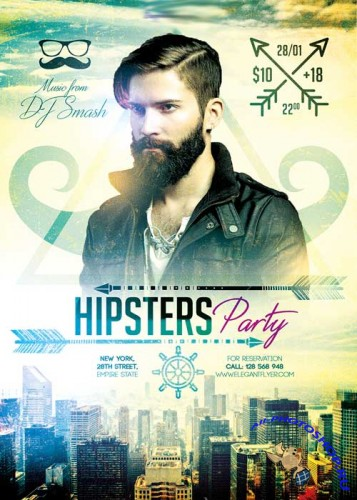 Hipsters Party V3 Flyer PSD Template + Facebook Cover