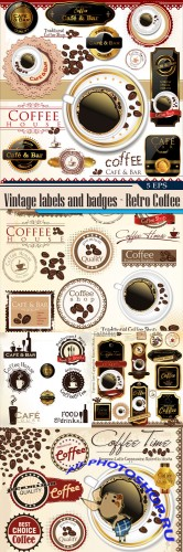 Vintage labels and badges - Retro Coffee