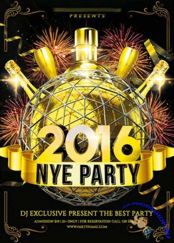 2016 NYE Night Premium Flyer Template + Facebook Cover