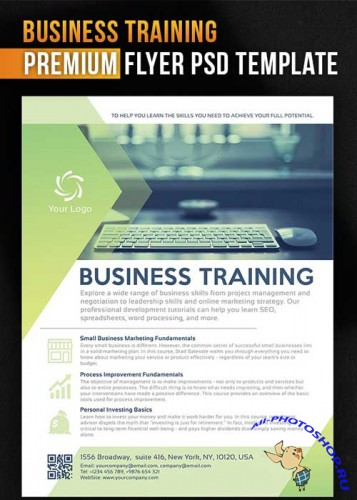 Business Training Flyer PSD Template + Facebook Cover