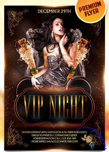 Vip Night Flyer PSD Template + Facebook Cover