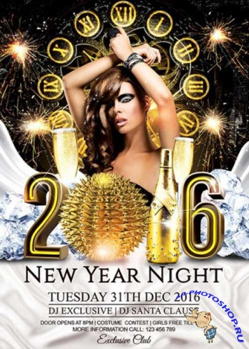 2016 New Year Night Premium Flyer Template + Facebook Cover