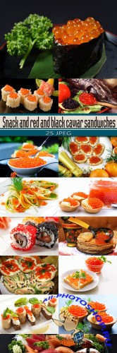 Snack and red and black caviar sandwiches