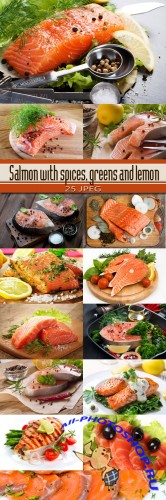 Salmon with spices, greens and lemon