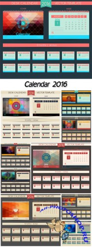 Calendar 2016, vector templates all months & place for text