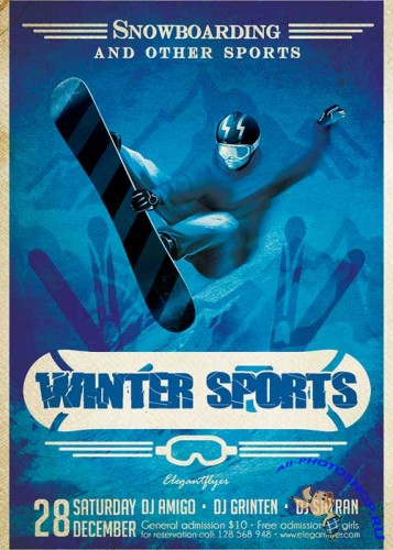 Winter Sports Flyer PSD Template + Facebook Cover