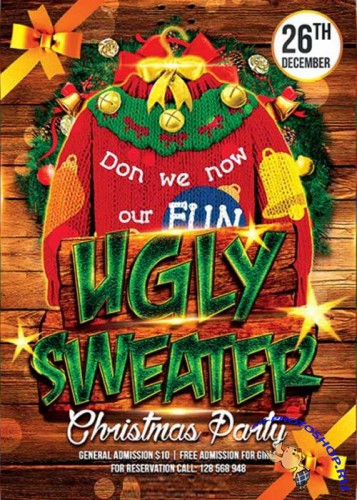 Ugly Sweater Party  Premium Flyer Template + Facebook Cover