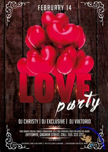 Red Love Party Premium Flyer Template