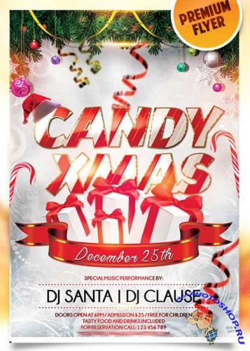 Candy Christmas Flyer PSD Template + Facebook Cover