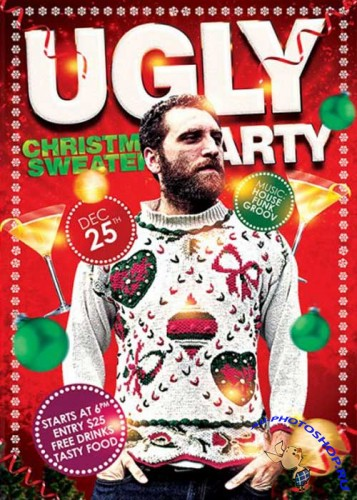 Ugly Christmas Sweaters Party Premium Flyer Template + Facebook Cover