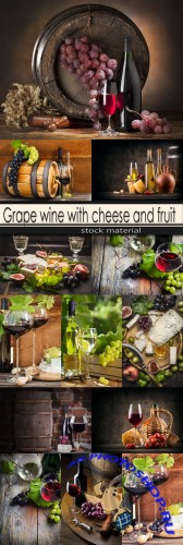 Grape wine with cheese and fruit
