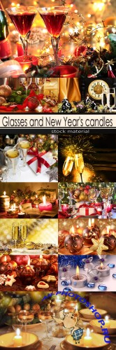 Glasses and New Year's candles