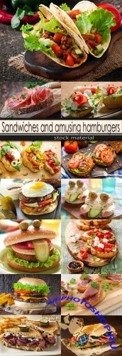 Sandwiches and amusing hamburgers
