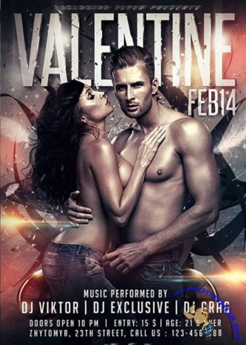 Valentines Night V2 Premium Flyer Template + Facebook cover