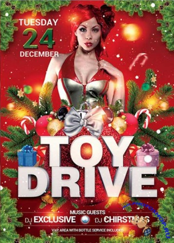 Toy Drive Party Premium Flyer Template + Facebook Cover