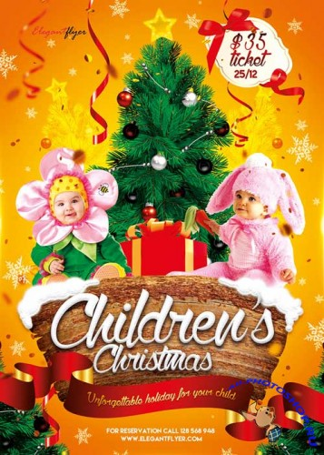 Children's Christmas Flyer PSD Template + Facebook Cover