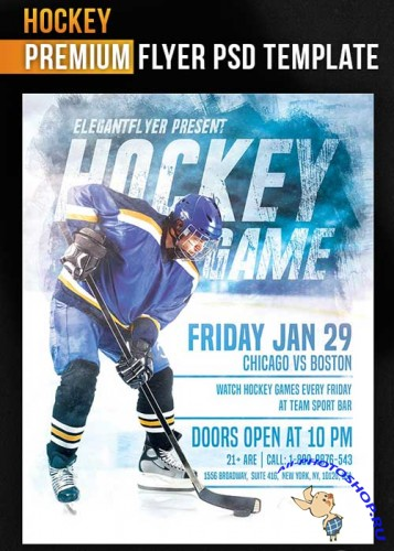 Hockey Flyer PSD Template + Facebook Cover