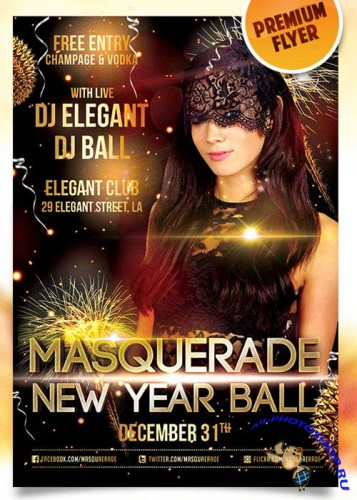 Masquerade Ball Flyer PSD Template + Facebook Cover