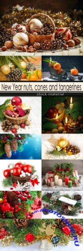 New Year nuts, cones and tangerines