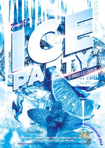 Ice Party Flyer PSD Template + Facebook Cover