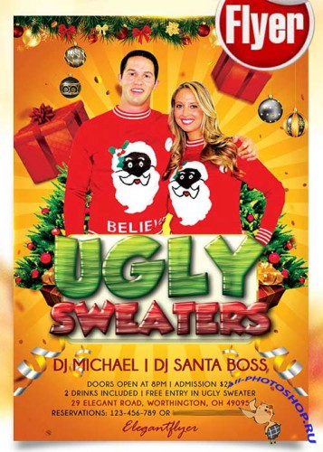 Ugly Sweater Party Flyer PSD Template + Facebook Cover