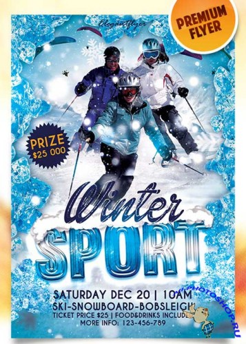 Winter Sport Flyer PSD Template + Facebook Cover