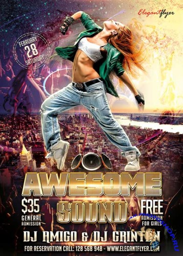 Awesome Sound Flyer PSD Template + Facebook Cover
