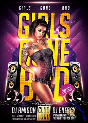 Girls Gone Bad Flyer PSD Template + Facebook Cover
