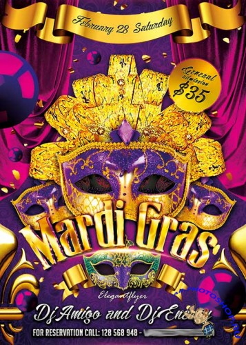 Mardi Gras Flyer V2 PSD Template + Facebook Cover