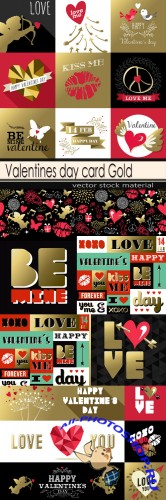 Valentines day card Gold