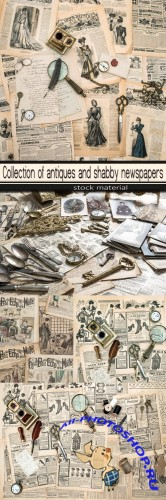 Collection of antiques and shabby newspapers