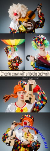 Cheerful clown with umbrella and violin