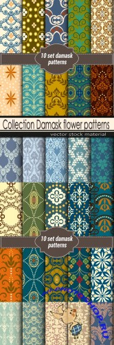 Collection Damask flower patterns