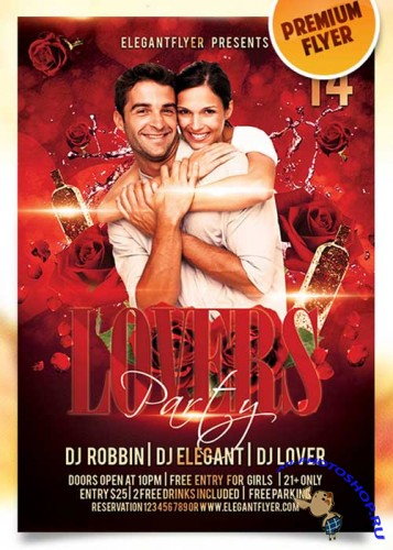 Lovers Party Flyer PSD Template + Facebook Cover
