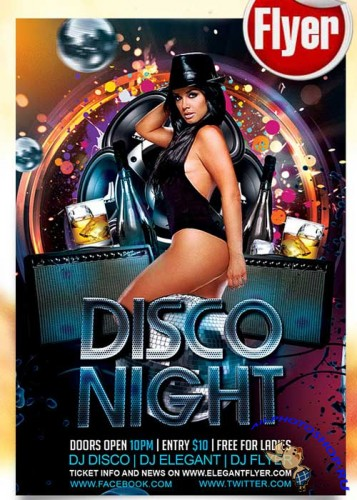 Disco Night Flyer PSD Template + Facebook Cover