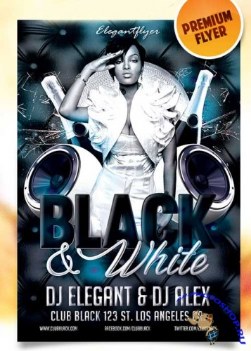 Black and White Party Flyer PSD Template + Facebook Cover