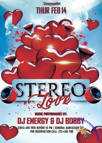 Stereo Love Party Premium Flyer Template + Facebook Cover