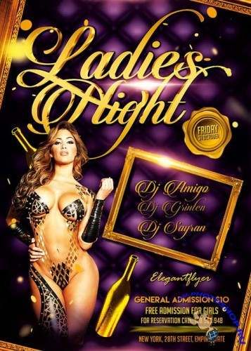 Ladies Night Party Flyer PSD Template + Facebook Cover